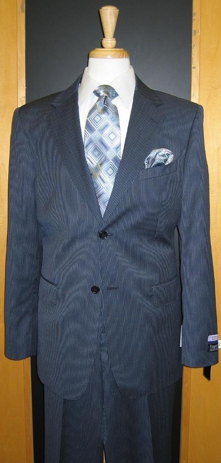 SKU#UH703 2 Button Navy Pinstripe Flat Front Wool Suit $199