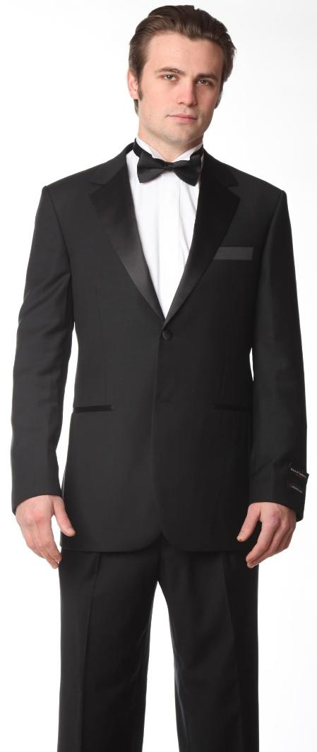 SKU#YL9876 2 Button Notch Lapel Tuxedo by Mattarazi Uomo Black $675