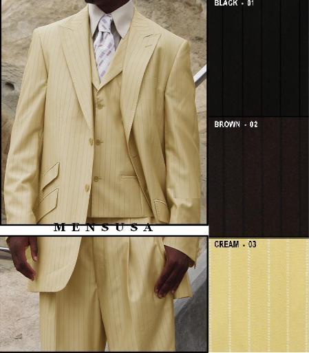 StyleMUMF041 2 Button Peak Lapel Vested Inverted Back Pleat Side vents Ticket Pocket Pick Stitch