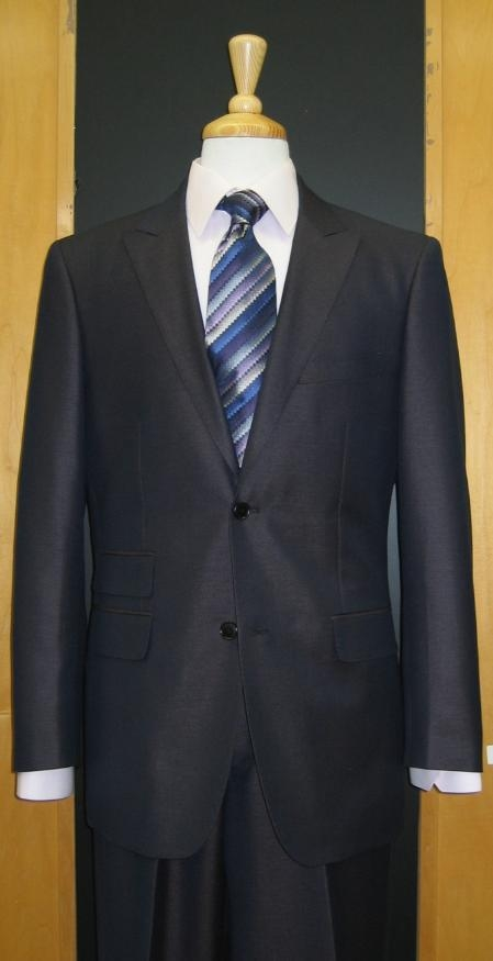 SKU#UD572 2 Button Peak Lapel Navy Erodesent Flat Front Suit