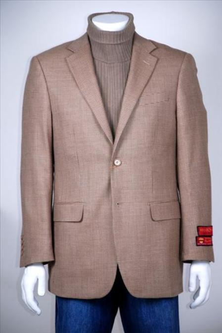 SKU#FD208 2 Button Vented Brown Beige Windowpane Wool Jacket/Blazer $149
