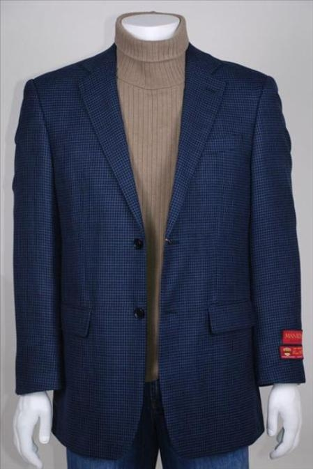 SKU#UF802 2 Button Vented Black and Blue Wool Jacket/Blazer $225
