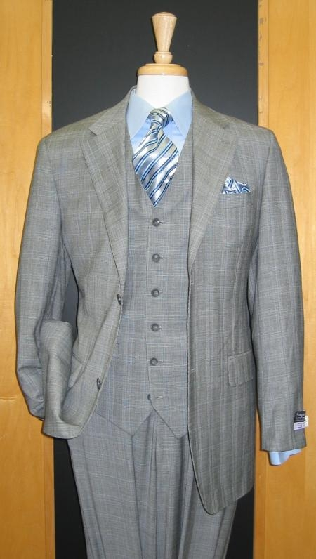 SKUMU1882 2 Button Vested Light Gray Windowpane Plaid Flat Front Pants Vented $199