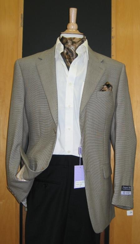 SKU#CN867 2 Button Wool and  Beige Sport Coat $199