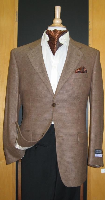 SKU#MB657 2 Button Wool Brown Sport Coat $199