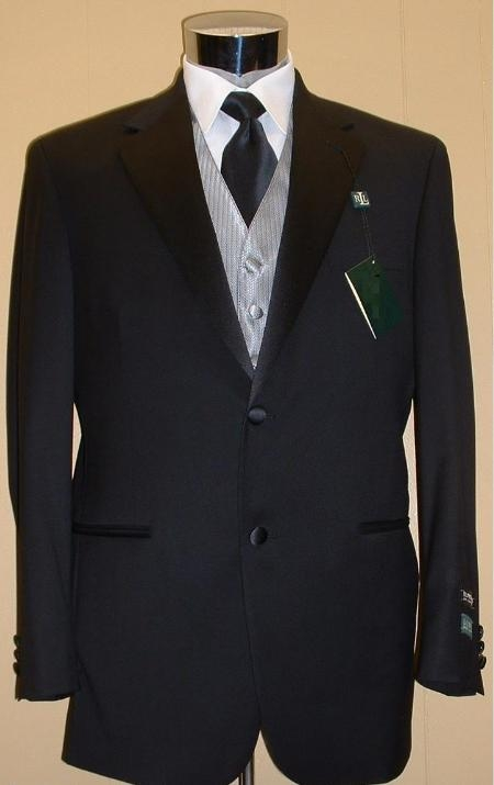 SKU# VCP763 $795 Mens 2 Buttons Tuxedo Super 120s Jacket + Pants + Shirt + Bow Tie $175