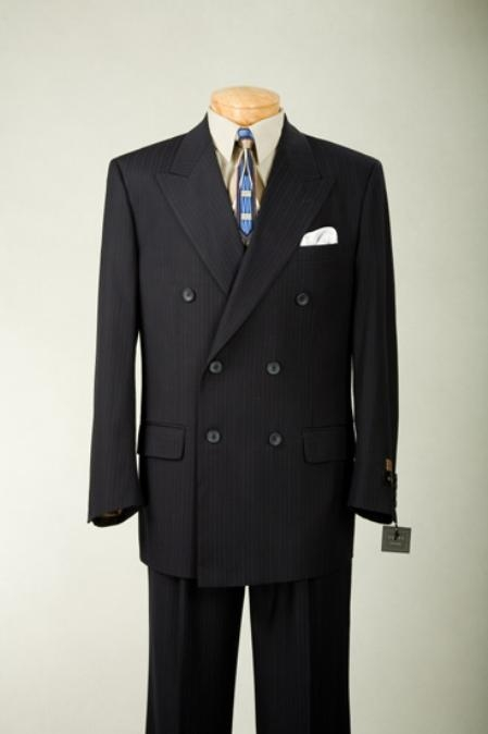 SKU#MUDSS2 Conservative Double Breasted Dark Navy Blue Thin Small Pinstripe Mens Suit Side Vents