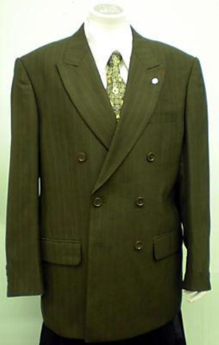 SKU#JOS_M189 2 Double Breasted Color Light Olive Mens Suit With Pinstripe $139