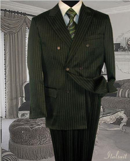 SKU#DSS2 Double Breasted Color Olive Mens Suit With Pinstripe $139