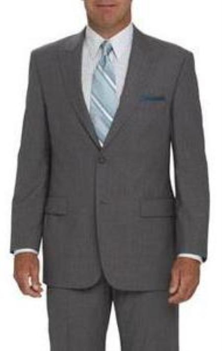SKU#RH7122-2V-3PF 2 Button Peak Lapel Jacket Flat Front Pants Light Silver Gray tapered slim fitted $149