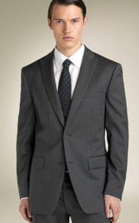 SKU#RH7122-2V-3PF 2 Button Peak Lapel Suit Dark Charcoal Gray tapered slim fitted cut $169