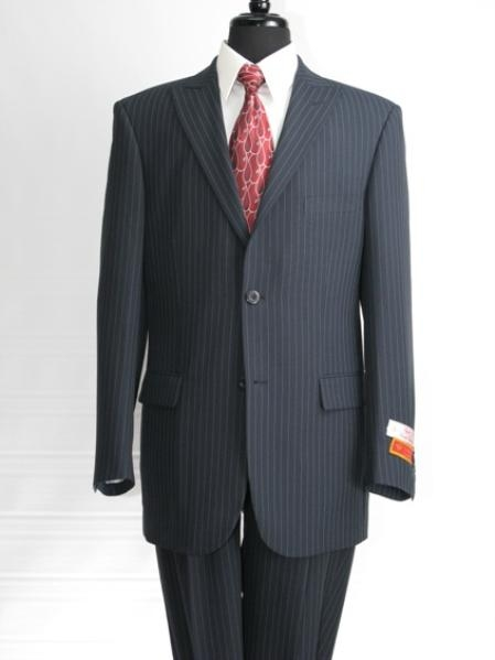 SKU#KY923 2 button Peak Lapel Pinstripe Flat Front Pants Double Vent Suit in 4 Differant colors
