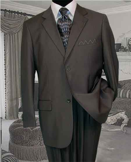 SKU#VH9322 2pc 2 Btn Charcoal Gray Pinstripe Suit Super 150s with Hand Pick Stitching on Lapel $199