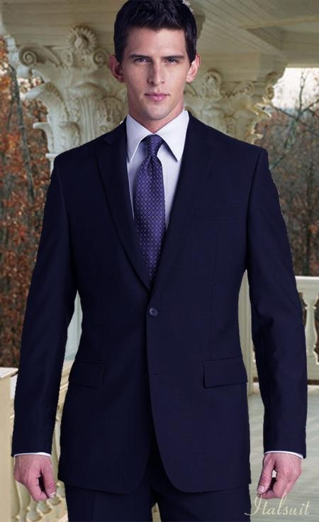 SKU# BER_TZ04 2PC 2 Btn Italian Made Navy Suit Classic Relax Fit Pleated Pant 19 Inch Bottom $199