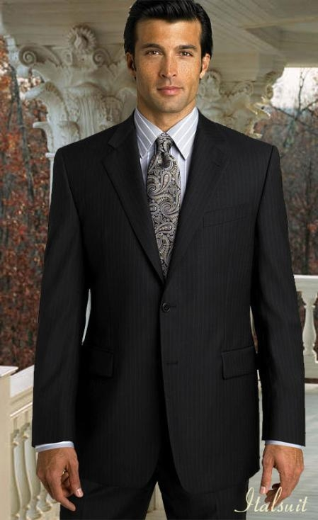 MensUSA.com 2pc 2 Btn Pinstripe Black Suit Classic Relax Fit Pleated Pants 19 Inch Bottom(Exchange only policy) at Sears.com