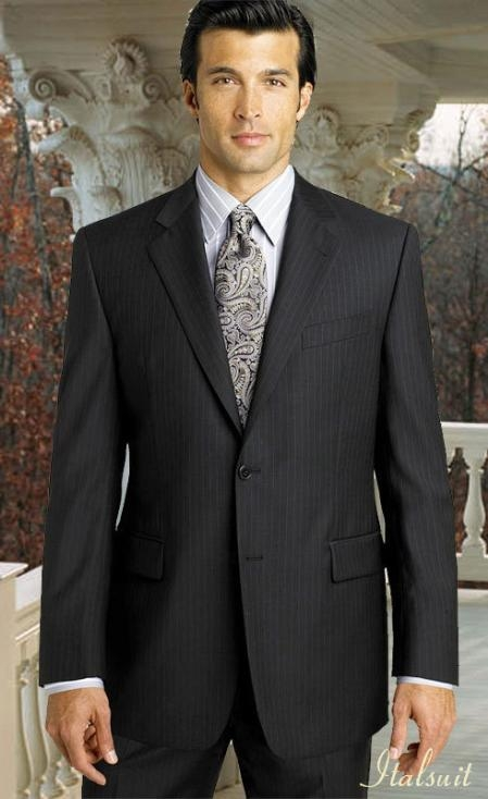 SKU#QM2040 2pc 2 btn Pinstripe Charcoal Grey Suit Super 150s with Hand Pick Stitching on Lapel