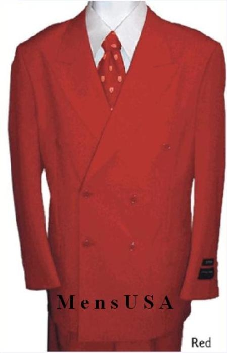 SKU#HTB4 2 Piece MENS SHARP Double Breasted DRESS SUIT Red Suits