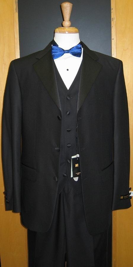 SKU#BV535 3 Button 3 Piece Flat Front Tuxedo