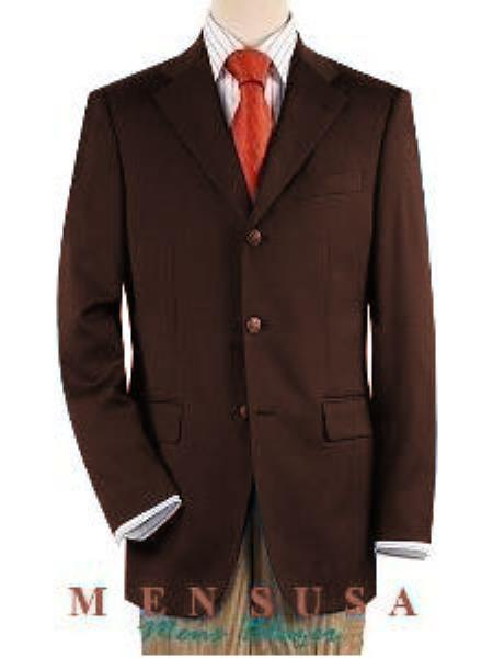 3 ~ Three buttons Front Jacket Four On Sleeves Fully Lined Suit Dark Brown