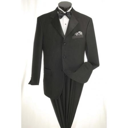 SKU#JD9879 3 Button Tuxedo with Black on Black Stripe
