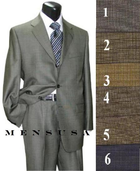 SKU# SC430 3 Buttons Mini Checkers Weave Salt & Pepper Birdseye Pattern Suit $179