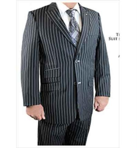 3 Piece Black Peak Lapel Gangster Stripe Scoop Revo Vested Suit