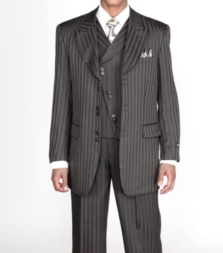 Men's 3 piece Fashion Tone on Tone Stripe ~ Pinstripe Suits w/Vest Black