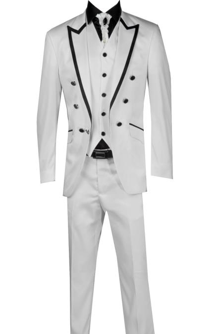 SKU#TGK41 Black Lapel Two toned 3 Piece Blazer+Trouser+Waistcoat White/Black Trimming Tailcoat Tuxedos Suit/Jacket