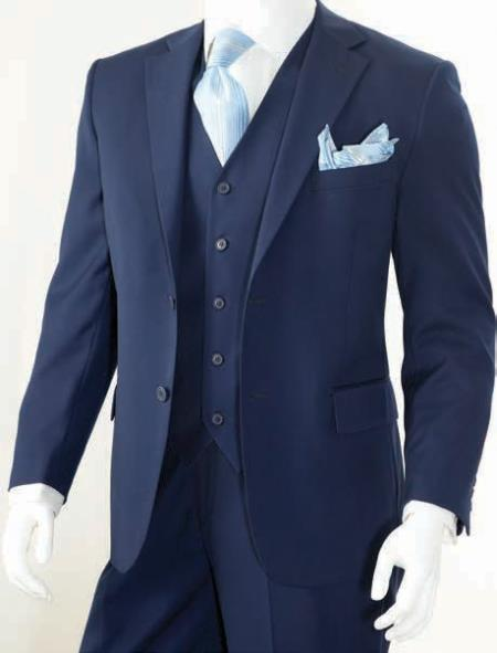 Men's 3 Piece Classic Suit Dark Navy - Dark Blue Suit - Three Piece Suit