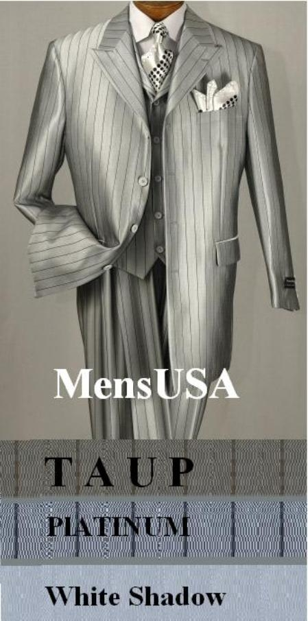 "SKU# THG454 T64SB 3 Piece Suit, 4 Buttons, 34"" Length, Peak Labels, Square Bottom, Shinny Stripe $175"
