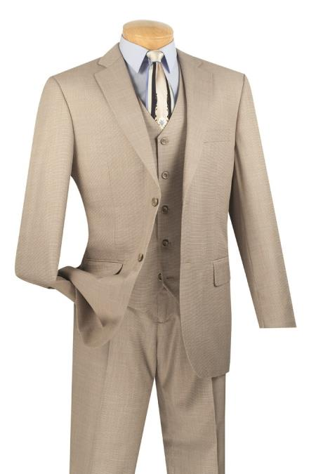 Mens 3 Piece Wool Feel Classic Suit– Wheat Sand Khaki Beige - Three Piece Suit