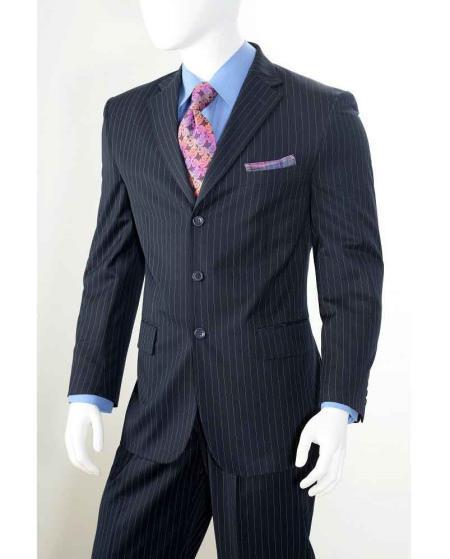 Navy Three button Notch Lapel Banker Chalk Pinstripe ~ Stripe Athletic Cut Pleated Pants