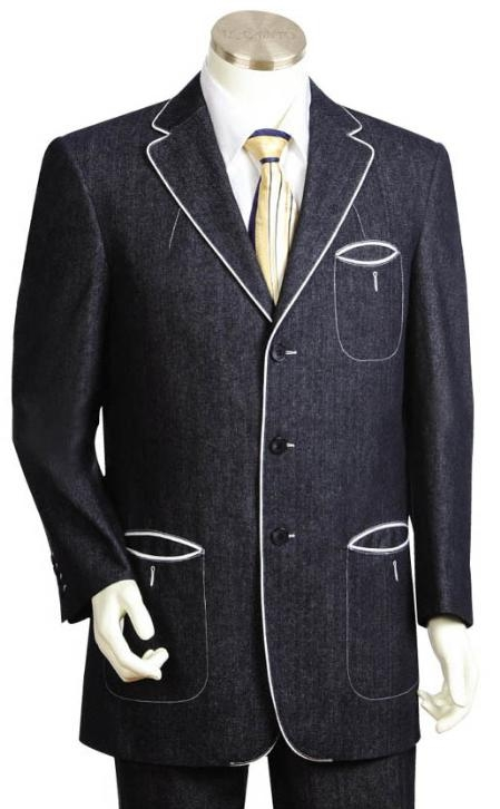 SKU#YT1245 3 Button Black Mens Suit $275