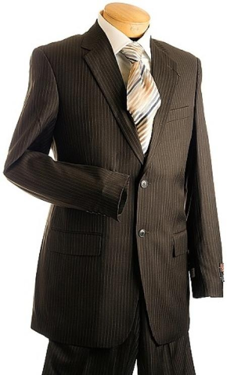 SKU#HW3420 3 Button Brown Pin Stripe ~ Pinstripe Mens Suit Brown