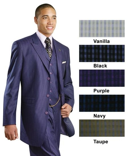 SKU#FF4533 3 Piece 3 Button Suit Small Plaid Free Chain Purple $175