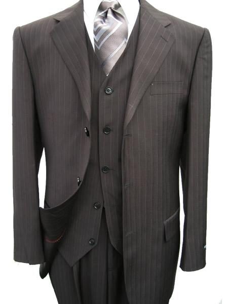 SKU# ZQ78 3 Piece Black Pinstripe Mens Vested 3 Button three piece suit Wool Feel Extra Fine Poly~Rayon $595