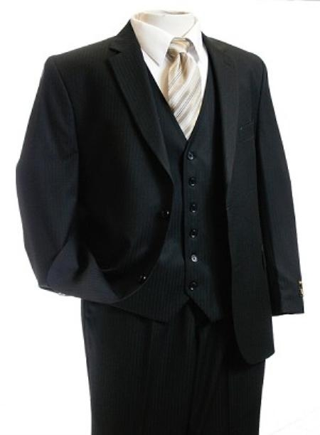 SKU#KW2301 3 piece Vested 2 Button Black Tone/Tone Men Suit Black