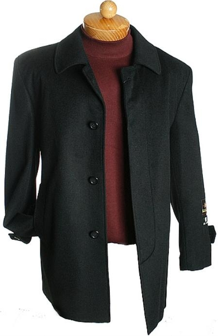 SKU#WE3532 3 Quarter Black Wool Jacket
