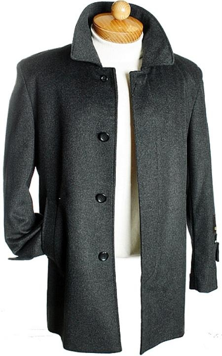 SKU#GB7232 3 Quarter Charcoal Wool Jacket