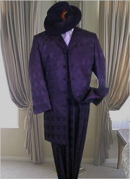 AC-301 PURPLE 3PC FASHION ZOOT SUIT TONE ON TONE PATTERN $169
