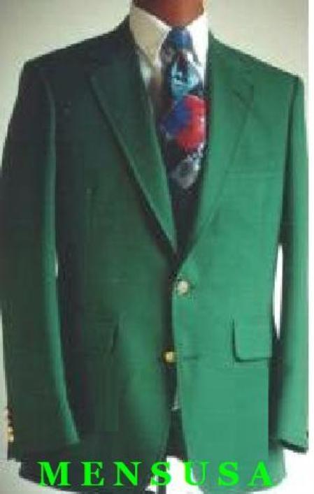 SKU# YNQ798 Single Breasted Green~IVY  Mens 2 Button Blazer Suit Jacket $189