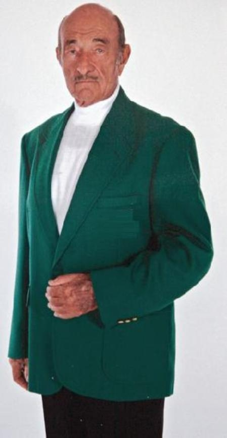 SKU#1832 Augusta Green Antique brass crest buttons Green Blazer Natural shoulders $189