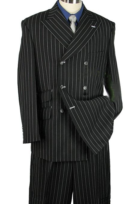 "SKU#BK2942 33"" MEN 2pc WIDE-LEG STRIPE ZOOT SUIT BLACK $119"