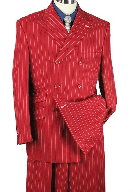 "SKU#GP30783 33"" MEN 2pc WIDE-LEG STRIPE ZOOT SUIT RED $225"