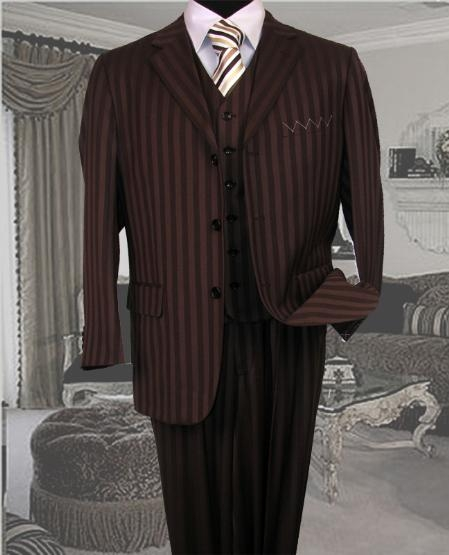 SKU#SE349  TS-33 Signature Platinum Stays Cool Tailored BROWN EXTRA FINE SUPER 150S SUIT TONE ONTONE STRIPE 3PC WITH A VEST $179
