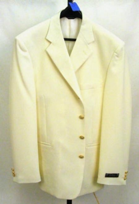 SKU#ZD4 3/4 Button Off White~Ivory Mens Dress Blazer with Metal Buttons in 7 Colors