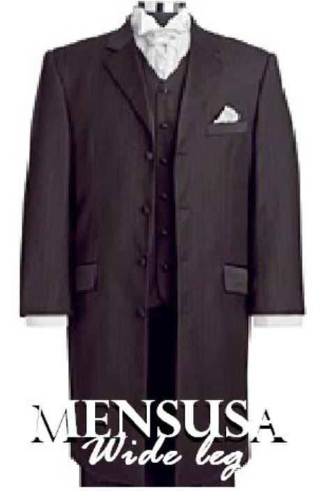 SKU# XXB396 34 Inch Jacket Black or Tan or Silver 3 Buttons Vested High Fashion Wide Leg Pants Suits Side Vents