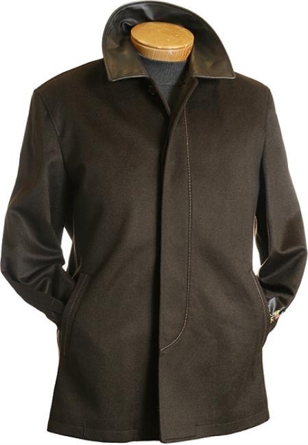 SKU#EQ8320 3/4 Chocolate Brown Wool Coat