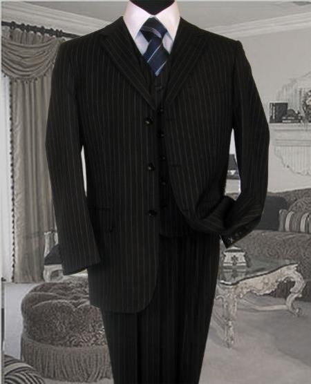 SKU#ASH35 UOMO BLACK WITH ROYAL PINSTRIPE SUPER 140S EXTRA FINE 3PC WITH VEST HAND MADE $289