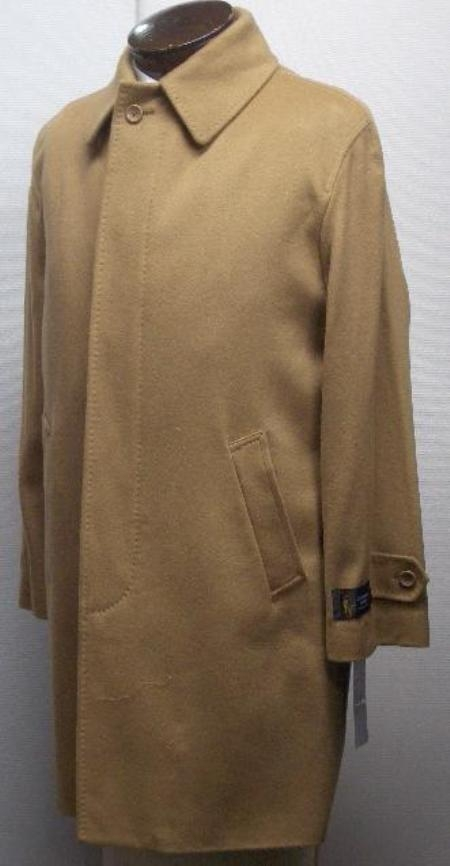 SKU#Sloan 35 inch four button  fly front coat with set-in sleeves & slash pockets wool&cashmere $750